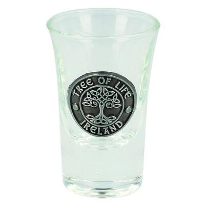 Boxed Irish Shot Glass With Celtic Pewter Tree Of Life Ireland Badge