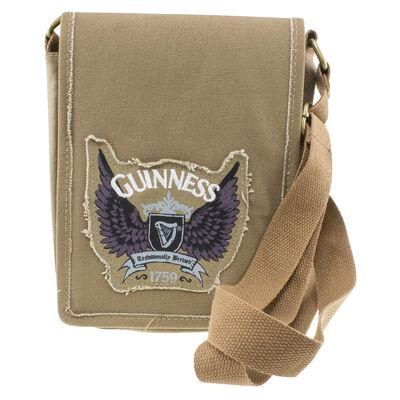Braune Guinness-Umhängetasche mit Flügeldesign