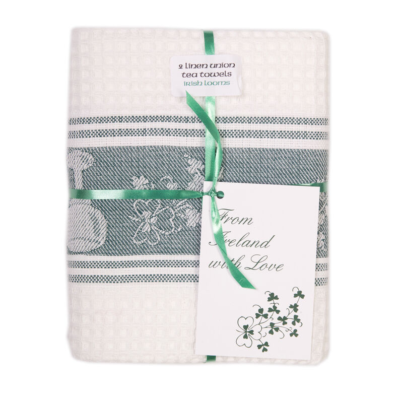 Shamrock Embroidered Waffle Tea Towel (2 Pack)
