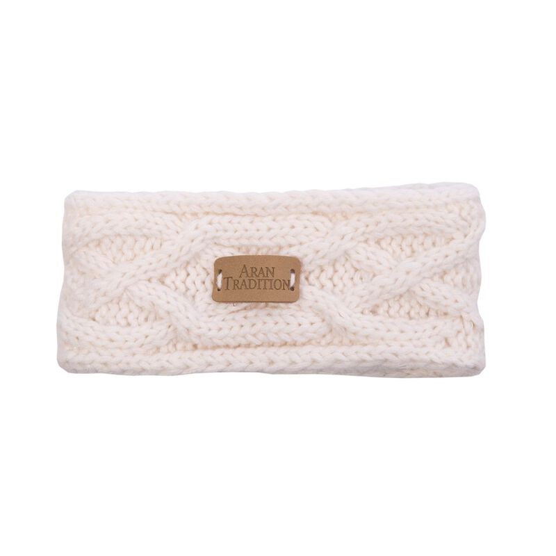Kids Aran Knitted Traditional Cable Pattern Headband  Cream Colour