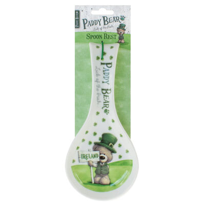 """Paddy Bear-Löffelablage im irischen Design mit Kleeblattmotiv und der Aufschrift """"Ireland"""""""
