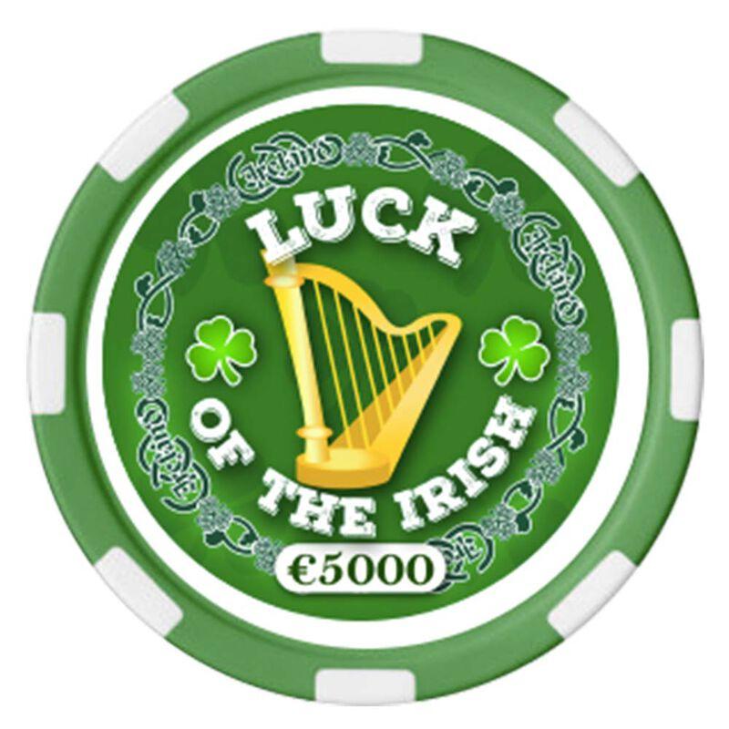 Irish Designed Poker Chip With Luck Of the Irish Text And Harp Design