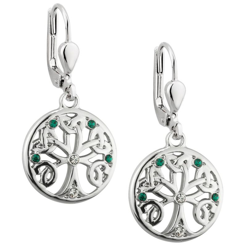 Lucky Green And White Crystal Tree Of Life Designed Drop Earrings