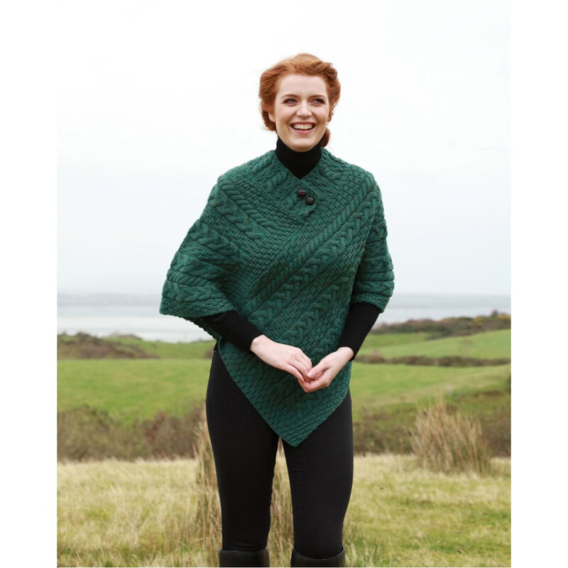 Ladies Poncho Connemara Green