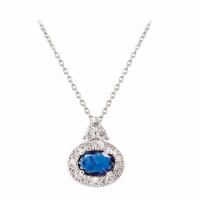 Tipperary Crystal Silver Pendant Oval Sapphire White Surround
