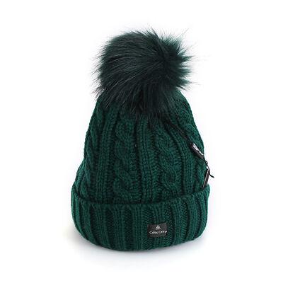 Celtic Ore Woollens Aran Bobble Hat, Green Colour