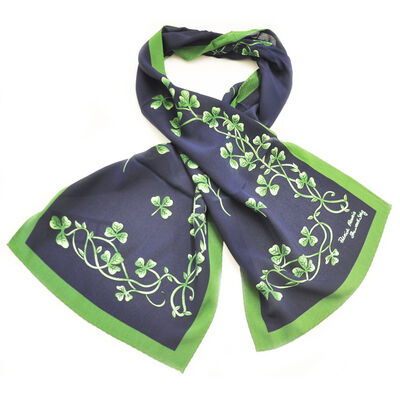 Irish Navy Celtic Silk Scarf With Shamrock Print and Green Border