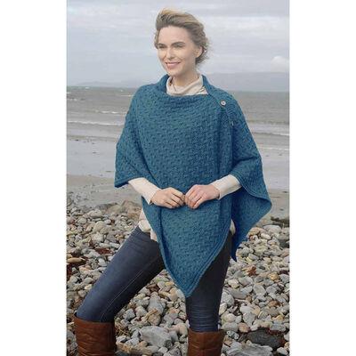 Aran Super Soft Merino Buttoned 3-Ways-to-Wear Cape  Blue Colour