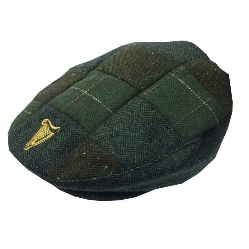 Guinness Traditional Style Tweed Patch Flat Cap With Harp Design