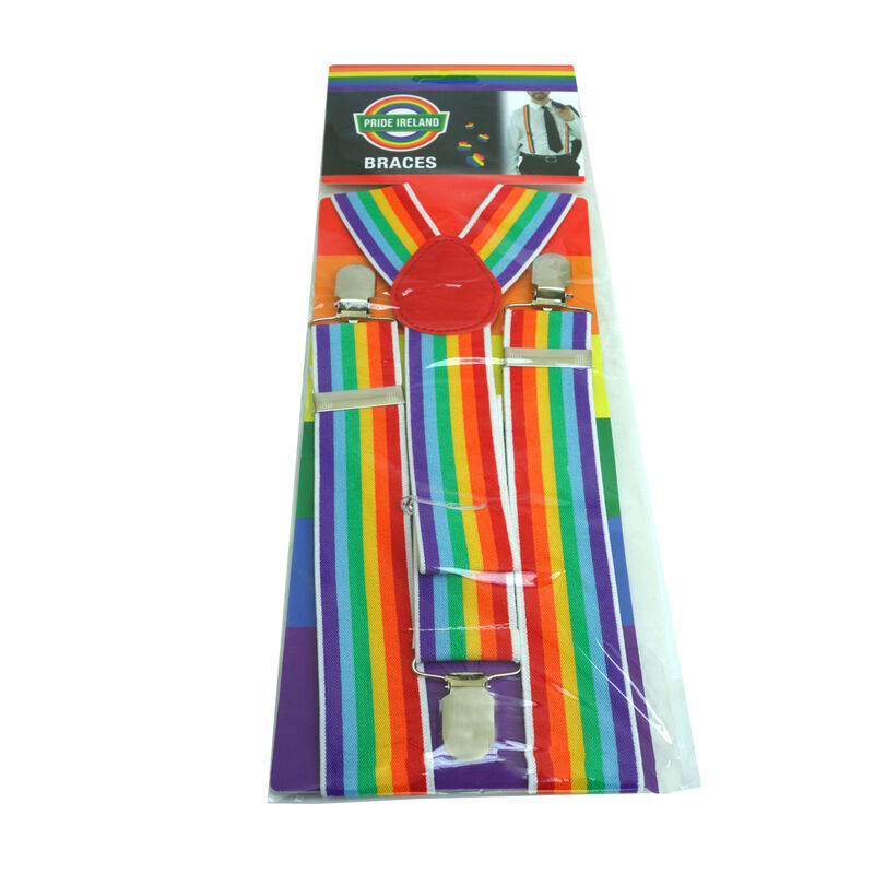 Pride Coloured Elastic Suspenders With Metal Clips  Perfect For All Sizes