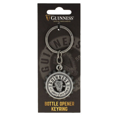 Guinness Keychain With Guinness Bottle Cap Embossed With Guinness Logo