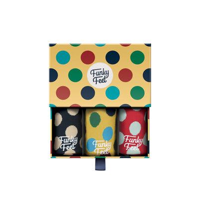 Funky Feet Large Polka Dots Designed 3 Pack of Socks