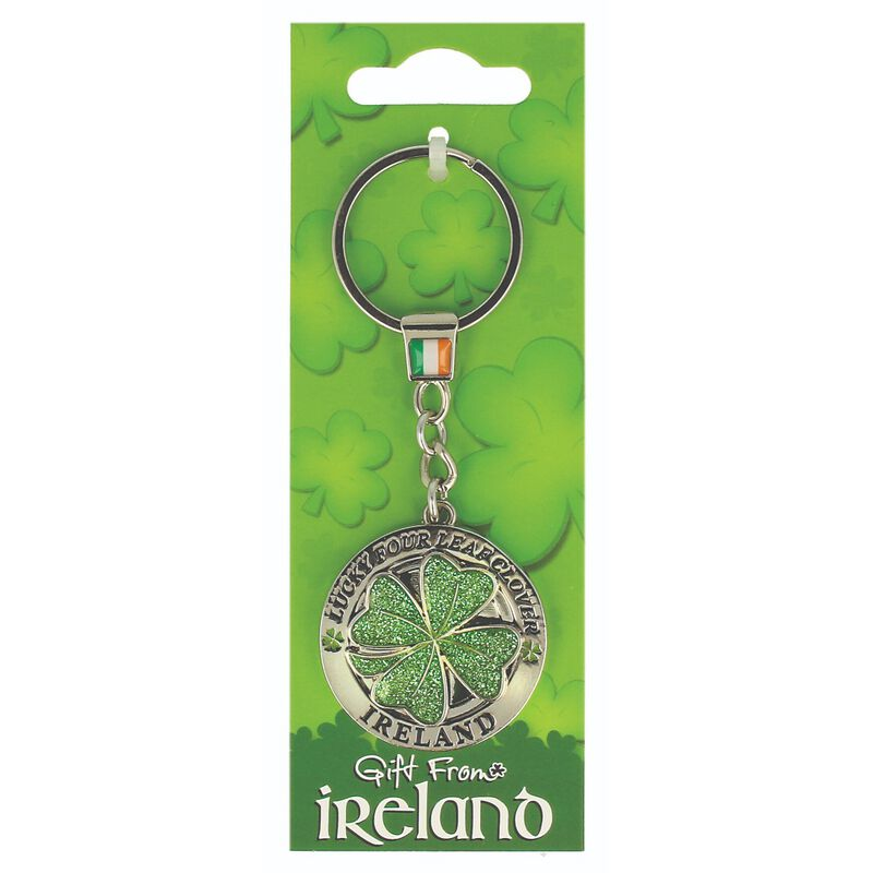 Gift From Ireland Lucky Green Four Leaf Clover Spinner Keychain