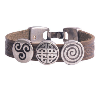 Lee River Aoife Celtic Cuff With 3 Charms  Brown Colour