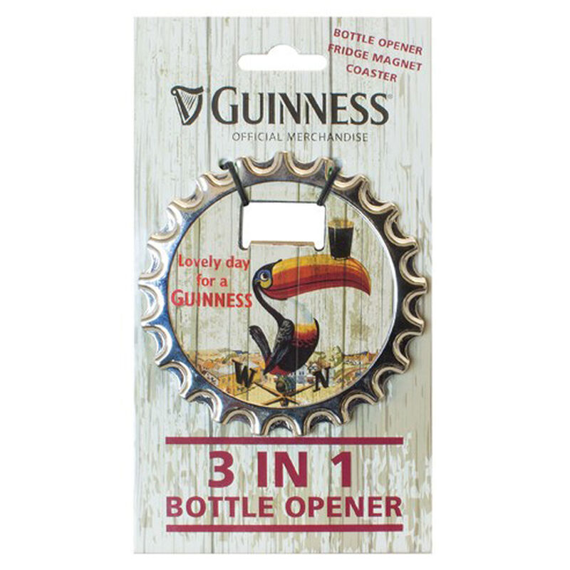 Guinness 3 in 1 Bottle Opener, Fridge Magnet and Coaster With Toucan Design