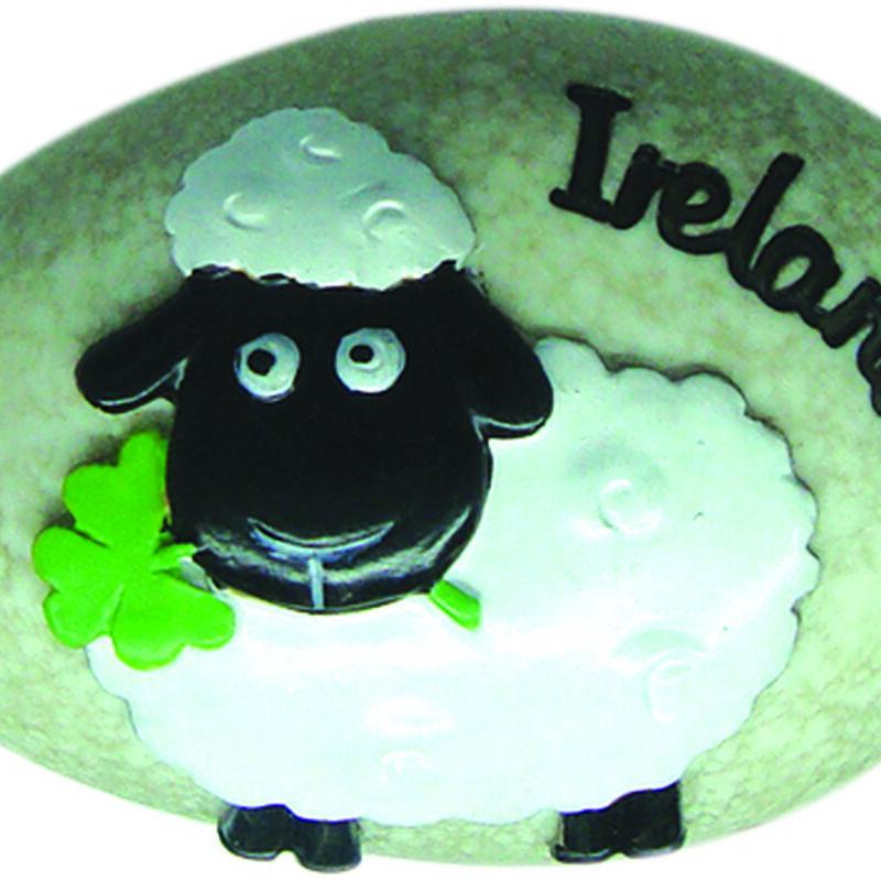 Round Irish Sheep Stone With Black Ireland Text And Green Shamrock Design
