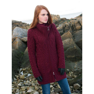 100% Merino Wool Double Collar Aran Zipper Coat, Wine Colour