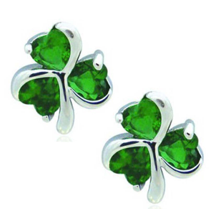 Silver Plated Shamrock Earrings With Cubic Zirconia Stones