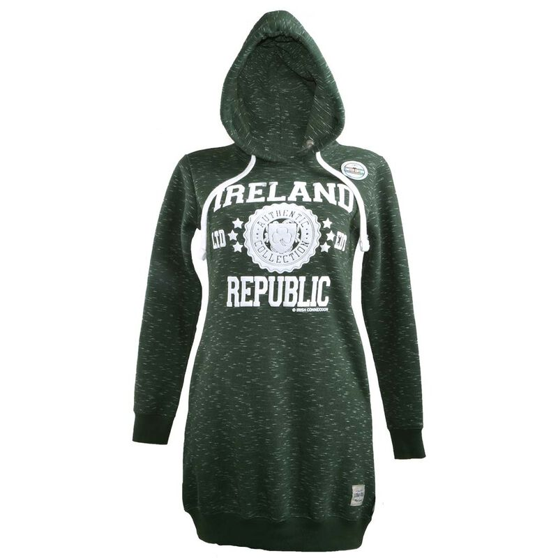 Pullover Ladies Longline Hoodie With Ireland Stamp Stars Print  Forest Green