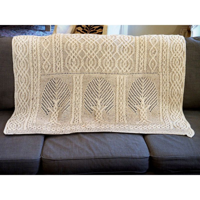 Aran Crafts Fairy Tree 100% Merino Wool Throw  Oatmeal Mix Colour