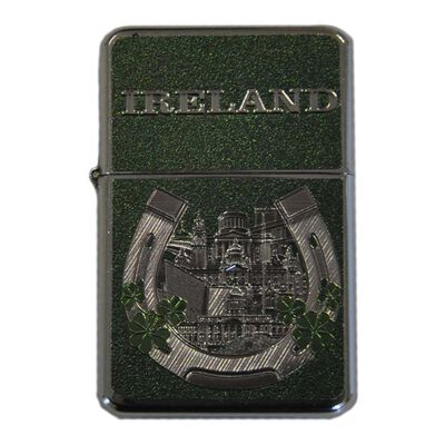 Ireland Designed Green Foil Style Windproof Lighter With Horseshoe Design