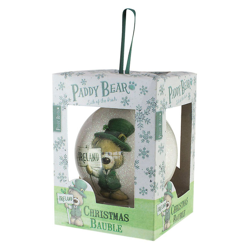 Paddy Bear Irish Designed Glittery Bauble With Shamrock Design