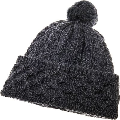 Honeycomb And Cable Knitted Woollen Hat With Pompom In Charcoal