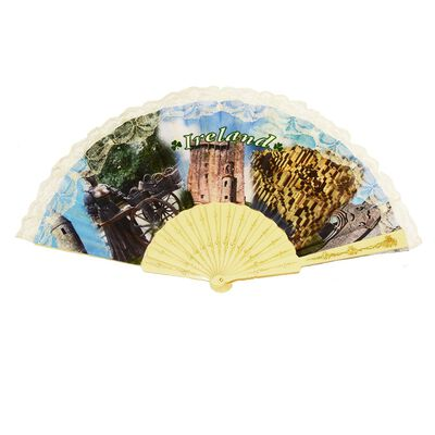 Irish Designed Fan With Molly Malone  Blarney Castle and Giants Causeway Design
