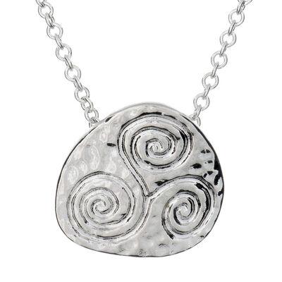 Silver Plated Carrick Silverware Newgrange Spiral Pendant