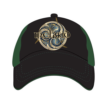 Black And Green Baseball Cap With Celtic Ireland Design