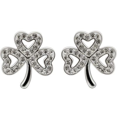 Platinum Plated Shamrock Stud Earrings With Clear Swarovski Crystals