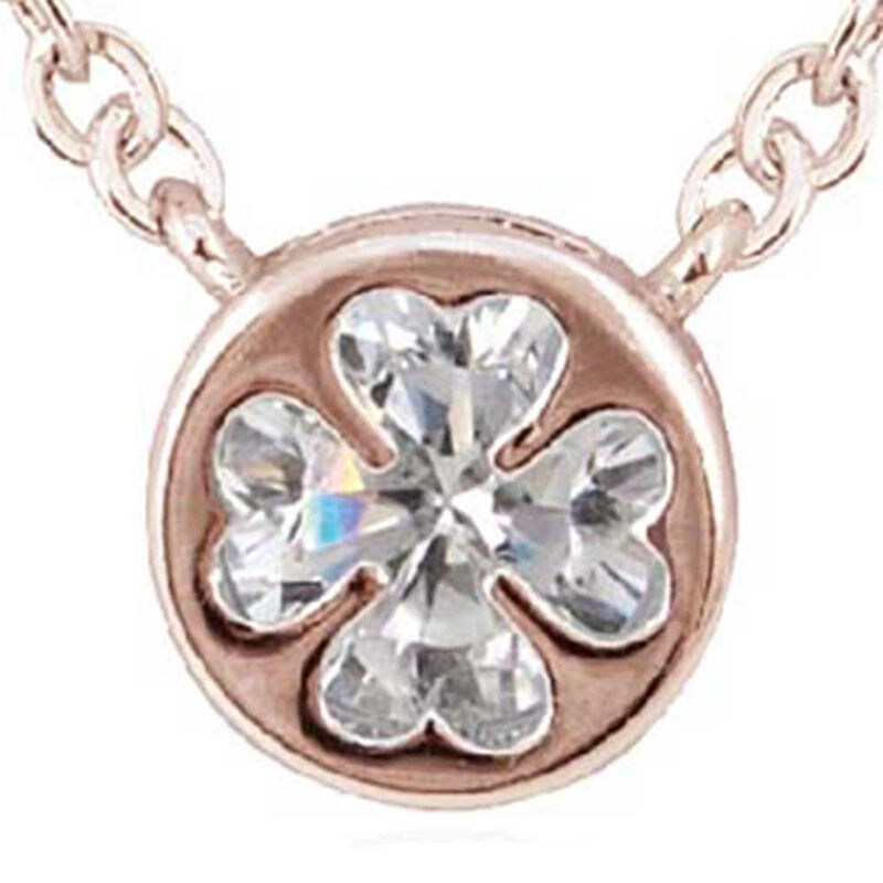 Rose Plated Round Pendant With Clover Shaped Cubic Zirconia Crystal In lay