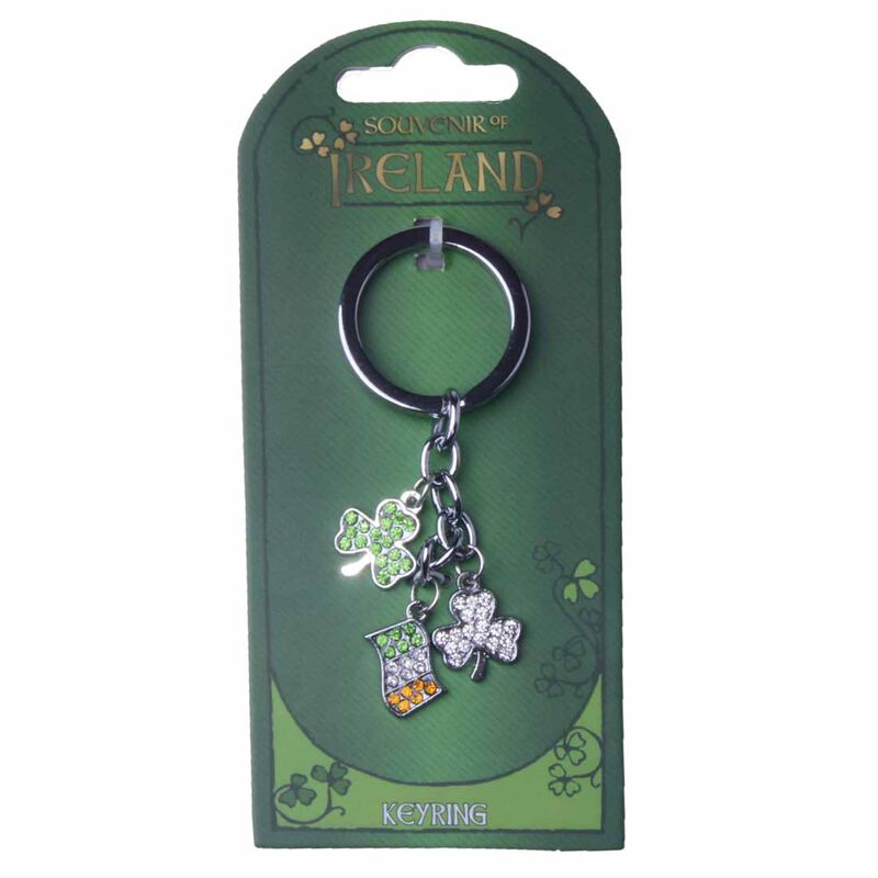 Ireland Charm Keychain With White  Green Shamrocks And Tri Colour Flag Design