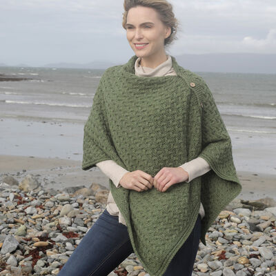 Aran Knitted Poncho With Wooden Buttons  Army Green Colour