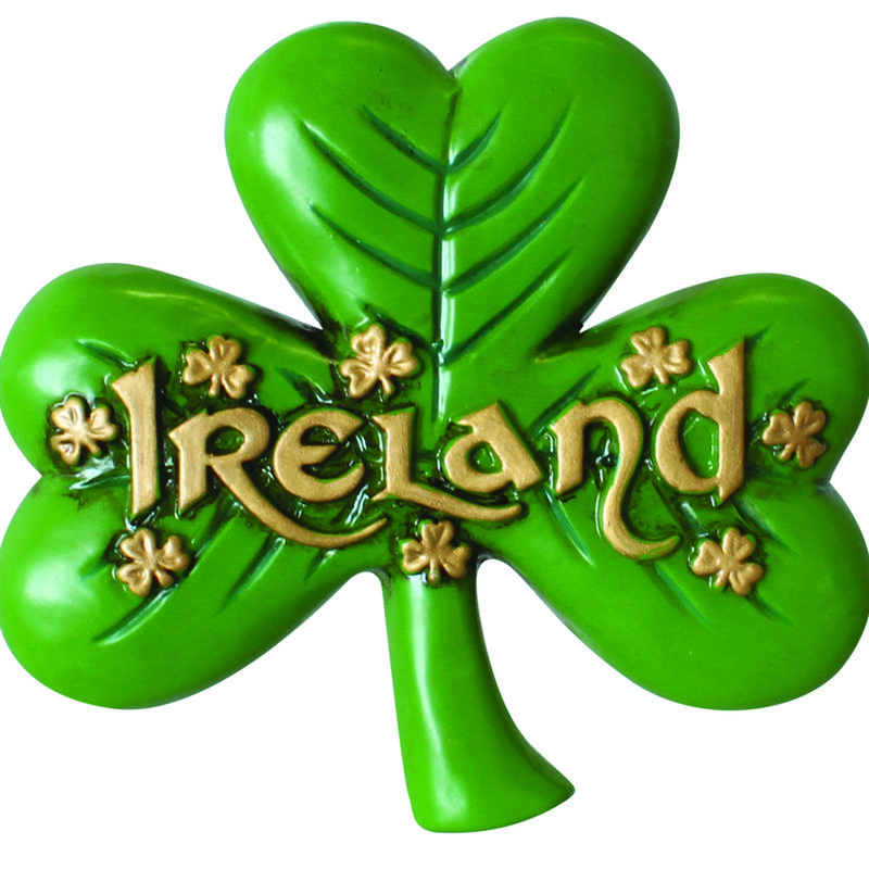 Antique Magnet Of Large Shamrock And Gold Ireland Text And Small Shamrock Design