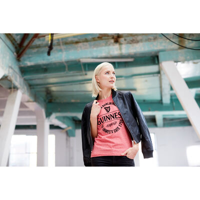 Ladies Guinness T-Shirt With Made In Dublin Bottle Label  Pink Colour