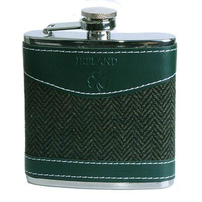 6OZ Hip Flask With Shamrock Ireland And Herringbone Tweed Design
