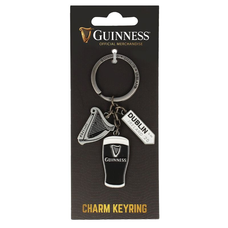 Official Guinness Multi-Charm Keyring With Dublin Sign  Harp And Pint Charms