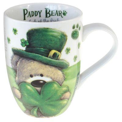 """Paddy Bear-Tasse im irischen Design mit Kleeblattmotiv und der Aufschrift """"Ireland"""""""