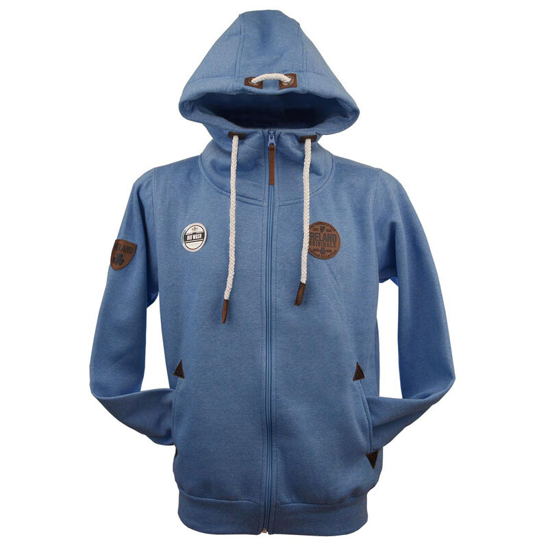 Irish Zip Hoodie With Original Leather Patch  Royal Blue Colour