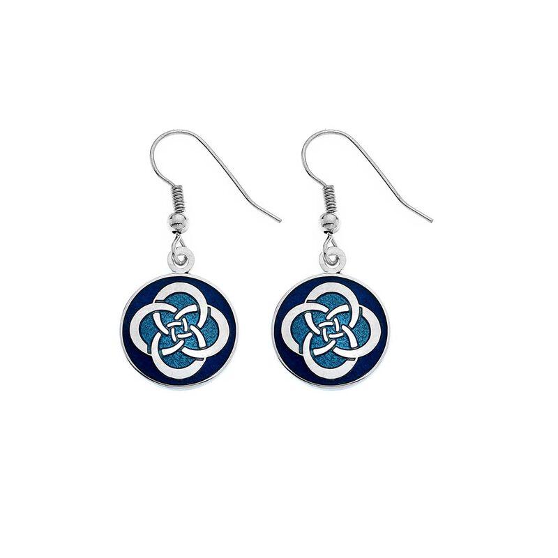 Sea Gems Blue Celtic Circle Knot Desigend Drop Earrings