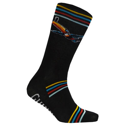 Black Guinness Socks With Flying Toucan And Striped Design