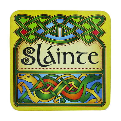 Irish Celtic Designed Coaster With Slainte Text