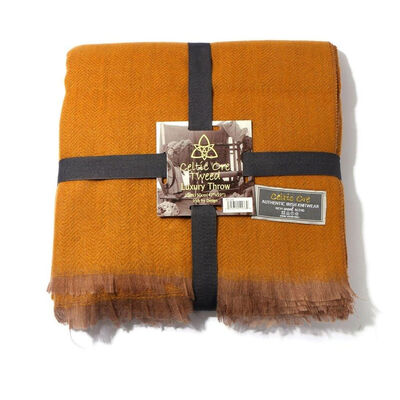 Celtic Ore Authentic Tweed Luxury Wool Blend Throw  Mustard Colour