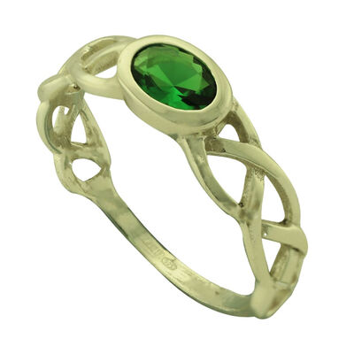 Hallmarked Sterling Silver Celtic Knot Ring With Green Cubic Zirconia Stone