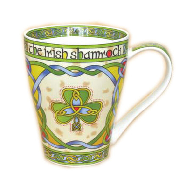 Irish Weave Bone China Mug Collection With Shamrock Ring Print