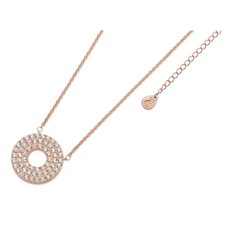 Tipperary Crystal Rose Gold Plated Pave Triple Band Moon Pendant, Comes With Gift Box