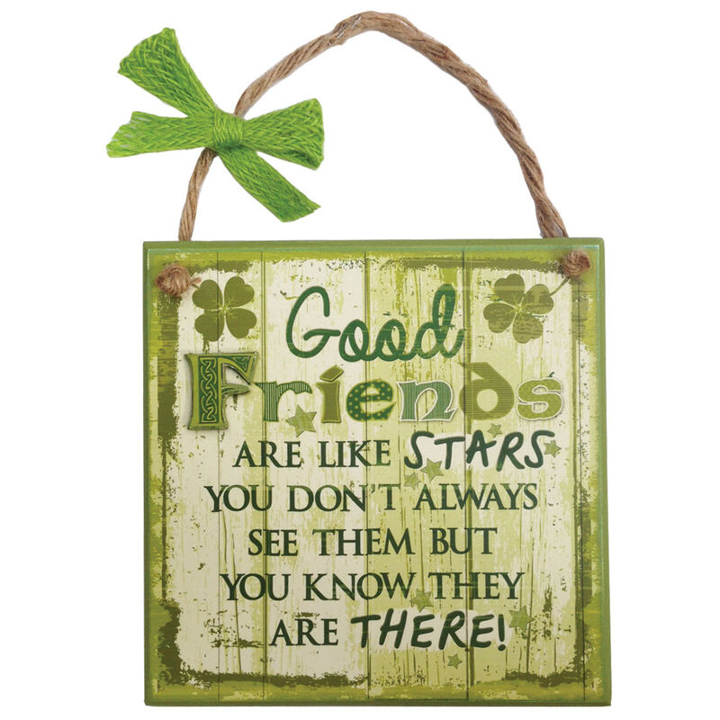 Rustic Ireland 'Good Friends' Wooden Plaque With A Green and White Design