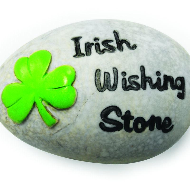 Round Irish Wishing Stone With Black Text And Green Shamrock Design