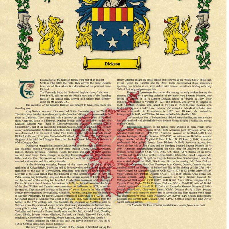 Heraldic Name Scroll With Family Coat Of Arms  The County Crest And Souvenir Title